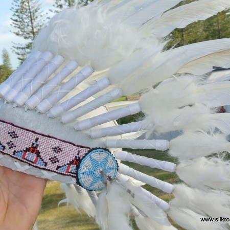 coloured bead WAR BONNET 600mm WHITE head chief feathers leather native american indian NEW