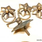 4 heavy STAR pulls handles antique style solid brass vintage old replace drawer heavy 58 m