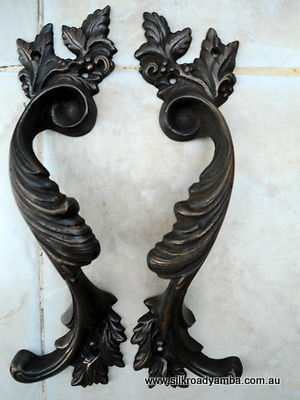 "2 dark large aged brass heavy pulls handles DOOR antique solid brass vintage french style 11"" old replace"