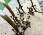 4 COAT hall HOOKS solid brass furniture antiques vintage age old style curly B