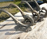 4x COAT HOOKS victorian door solid heavy brass furniture vintage age old style B