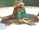 "YOGA FROG statue brass hand made old style GREEN 5"" lotus position cute"