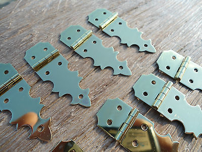 10 TINY restoration hinges vintage aged style solid Brass new polished light brass BOX