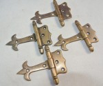 "4x small hinges vintage aged style solid Brass DOOR Stuning restore heavy 3"" B"