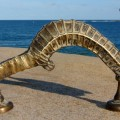 Large SEAHORSE solid brass door old style heavy house PULL handle 14""