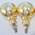 """2 Bed COT KNOBS heavy solid brass inc bolt thread old vintage style 2"""" across"""