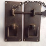 Door box Latch catch solid brass furniture antiques bolt chain asian style 4""