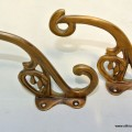 "2 COAT HOOKS solid brass old style 5"" flower hall stand"