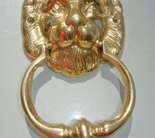 """LION solid BRASS hand made DOOR KNOCKER 6.1/2"""" heavy POLISHED finish"""