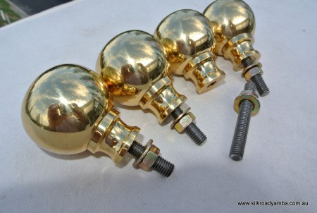 """4 Bed COT KNOBS heavy solid brass inc bolt thread old vintage style 2"""" across"""