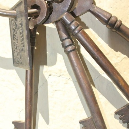 massive KEYS vintage old style all solid Brass jail style amazing 8""