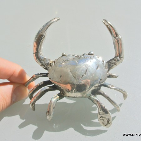 """small 3.1/2"""" MUD CRAB solid brass silver plate heavy decoration hand made"""