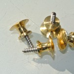 4 tiny screw KNOBS pulls handles antique solid heavy brass drawer knob10 mm