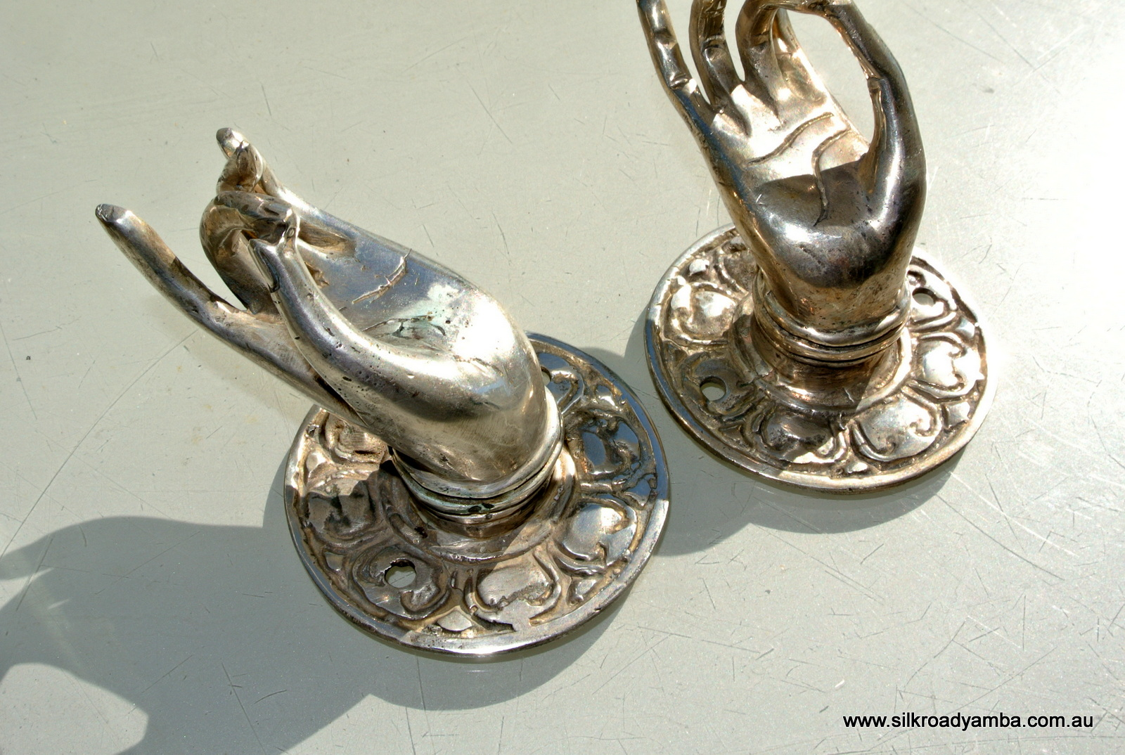 4 Small Old Looking Buddha Pulls Handle Fingers Silver