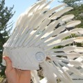 short WAR BONNET medium WHITE head chief feathers leather hand stitched native american Indian NE