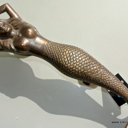"""large MERMAID solid brass door PULL old style heavy house PULL handle 15"""" aged"""