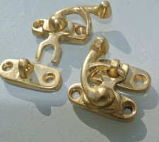 2 Solid brass catches / latch - Hand made vintage style - really cute tiny - Made from solid brass screws included POLISHED Size approx 30 x 30 mm
