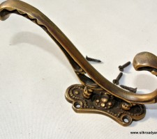 COAT HOOKS Victorian heavy solid brass vintage old style 5""