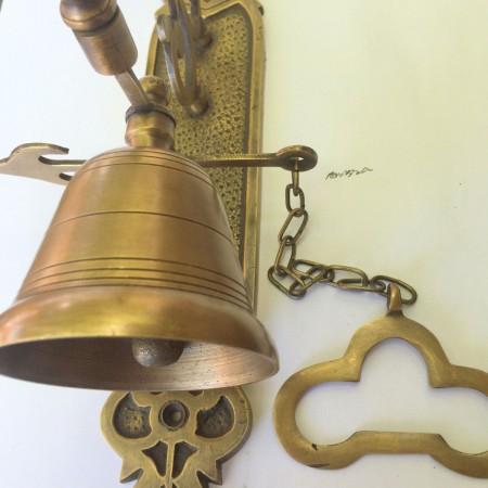 """Large BELL front door heavy Vintage style 10 """"antique look solid brass aged Chain nice soun"""
