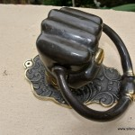 """Solid Brass FIST HAND Door Knocker PULL HANDLE ring 7"""" aged old look"""
