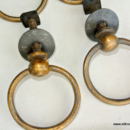 4 small ring PULLS handles heavy SOLID BRASS 43 mm