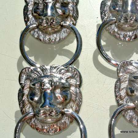 2 PULLS handles Small heavy LION SOLID BRASS old style screws house antiques silver
