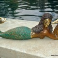 "MERMAID heavy solid Brass GREEN statue 9"" shell"