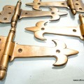 4 small hinges vintage age style solid Brass DOOR restoration heavy 5""