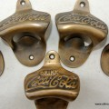 """5 """"COCA COLA"""" Bottle Opener brass COKE works AGED finish screws included heavy"""