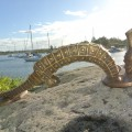very large SEAHORSE solid brass door old style heavy house PULL handle 16.1/2""