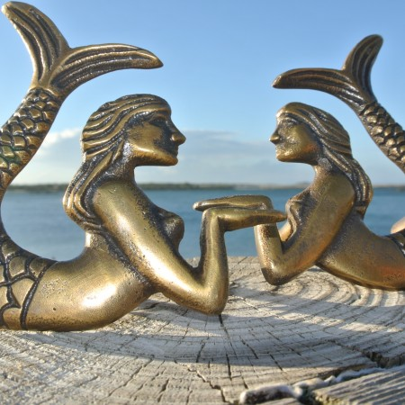 2 small MERMAID heavy KNOB aged old solid Brass PULL knobs kitchen praying 80 mm
