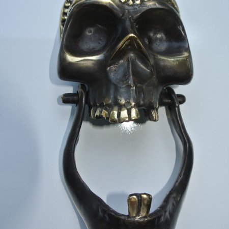 """SKULL head and JAW heavy front Door Knocker SOLID BRASS day of the dead 8"""""""