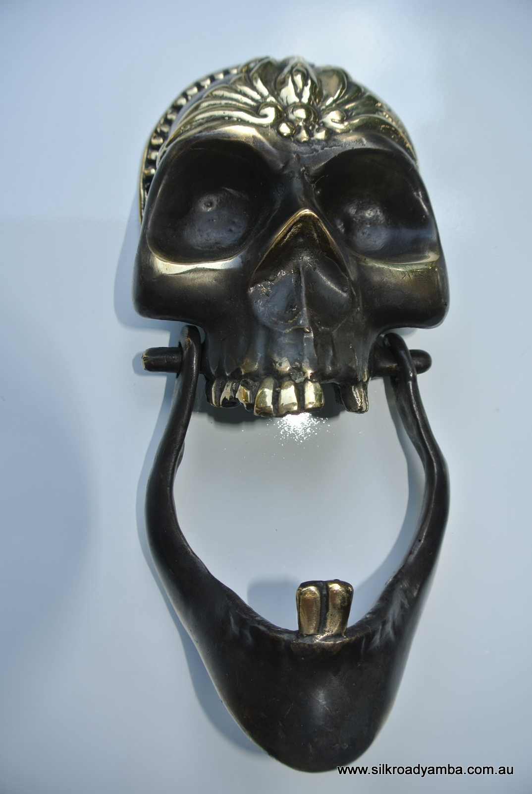 SKULL Head And JAW Heavy Front Door Knocker SOLID BRASS Day Of The Dead 8