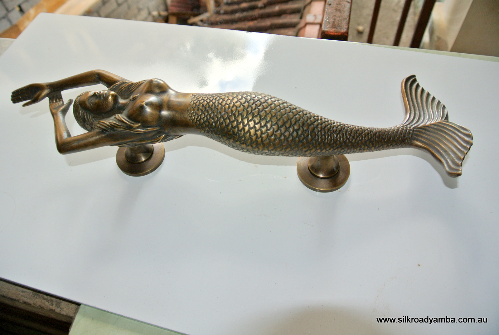 Right Hand Large Mermaid Solid Brass Door Pull Old Style