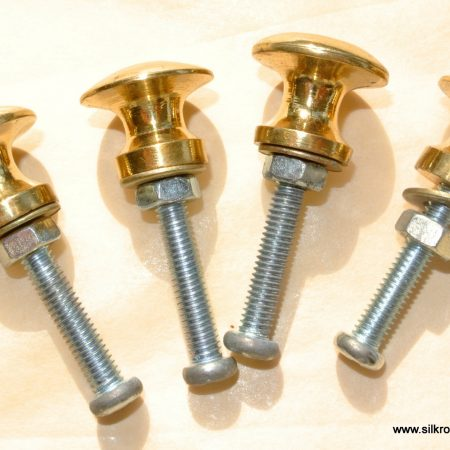 4 very TINY bolt KNOBS pulls handles antique solid heavy brass drawer knob 15 mm