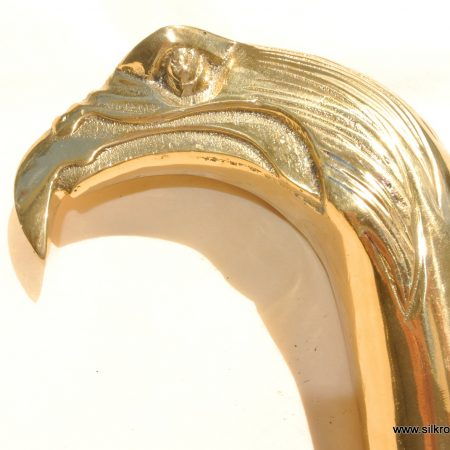 POLISHED brass EAGLE head WALKING STICK end only hand Made heavy 2 parts