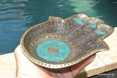 """Buddha TRAY engraved hand shape 8 """" inches long plate solid brass bowl"""