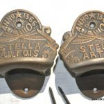 2 STELLA ARTOIS beer Bottle Opener brass AGED finish screws included heavy