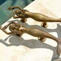 "2 large MERMAID solid brass door PULL old style heavy house PULL handle 15"" aged PAIR"