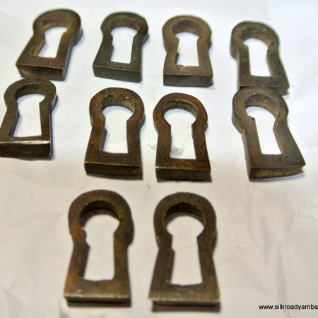 10 recessed KEY hole covers aged old stye vintage antique look solid heavy brass aged 19 mm escutcheon