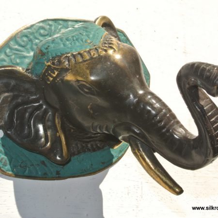 "ELEPHANT shape WALL HOOK 4"" BRASS old style look SCREW to wall trunk hang heavy green"