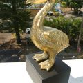 "small PELICAN solid polished BRASS hollow statue 7"" display aged hand made on base"