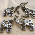 4 Nice tiny small CHROME box Latch catch solid brass furniture antiques doors trinket