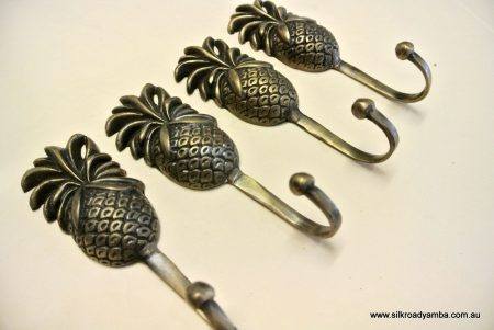 4 PINEAPPLE COAT HOOKS small solid brass antiques vintage old style 120mm hook