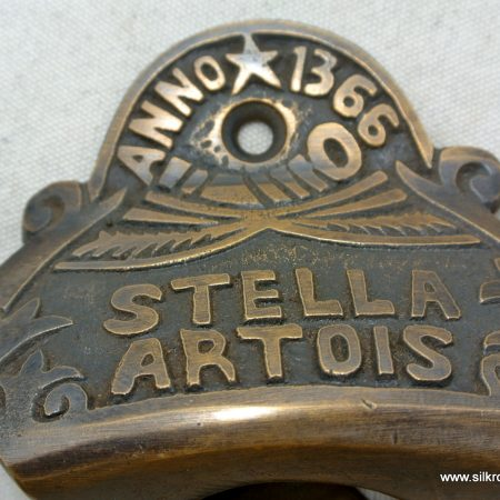 STELLA ARTOIS beer Bottle Opener brass AGED finish screws included heavy