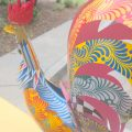 large Metal hand painted CHICKEN statue stunning hand made unique painted pattern