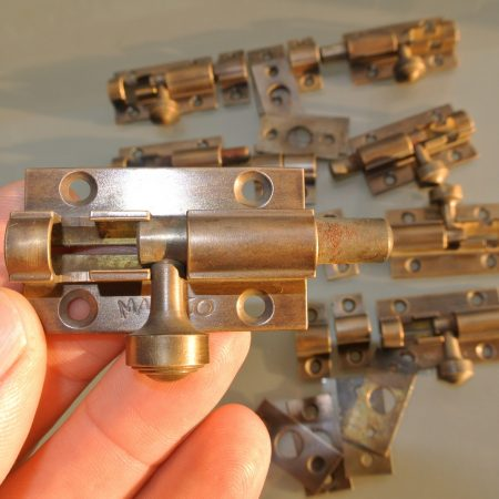 "10 small bolts catch solid brass slide 2.1/2 "" 65 mm hand made flush mount"