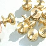 10 very small screw KNOBS pulls handles antique solid heavy brass drawer knob 19 mm