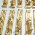 10 POLISHED small pulls drops handles antique style solid brass vintage old replace drawer heavy NKH