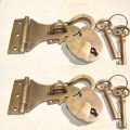 2 latch vintage style house BOX antiques box & padlock catch hasp DOOR Key heavy